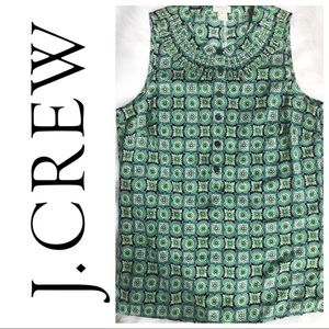J. Crew Print Pleated Cami Button Down Top